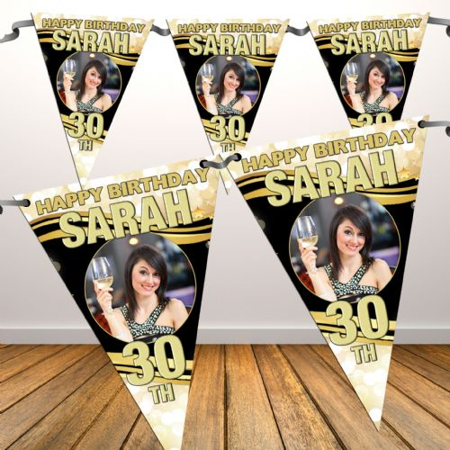 Personalised Happy Birthday Flag PHOTO Bunting Banner - N51 - Black & Gold Sparkle